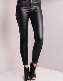 Womens Faux Leather Pants Elastic Waisted Casual Trousers